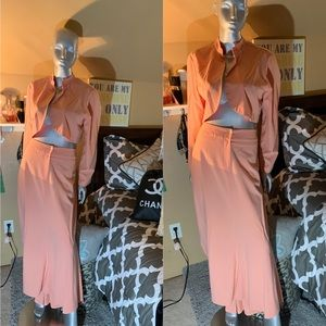Coral Skirt and Blazer Set